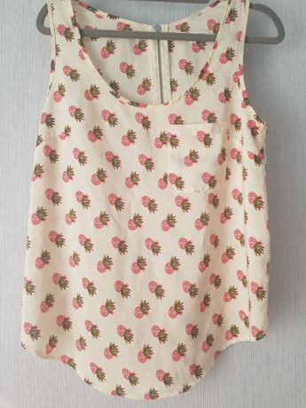 Bluzka koszulka na lato ramiączka s 36 truskawki beżowa elegancka
