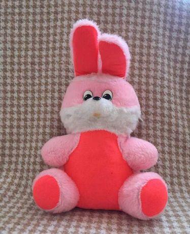 Мягкая игрушка, розовый заяц