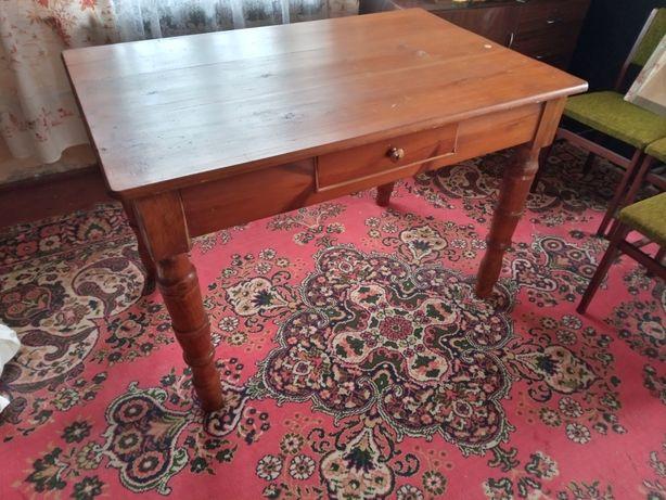 Zestaw krzeseł ze stołem powojenny dębowy