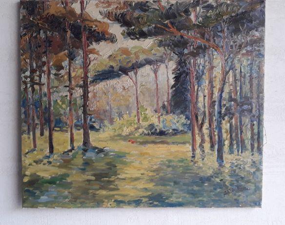 Pejzaż las obraz olejny sygnowany Lorenzen 1953r