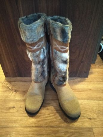 Buty zimowe kozaki NOWE włoskie BRUNATE z kożuchem i futrem