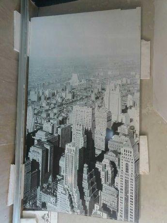 Drzwi przesówne, szkło harowane, nietypowe, z widokiem na New York