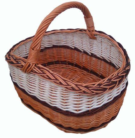 Koszyk wiklinowy na zakupy, grzyby, piknik, (z białym i ciemnym)