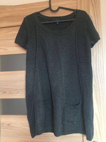 Bluzka ciążowa/tunika M szara sweterek z krótkim rękawem kieszonki