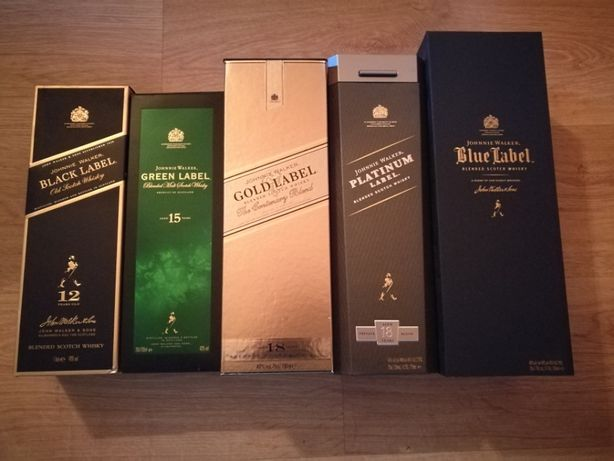 Johnnie Walker black green gold platinum blue label opakowanie karton