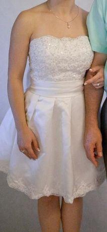 Suknia Ślubna - Krótka- Iviory- Kość Słoniowa!! CUDNA!