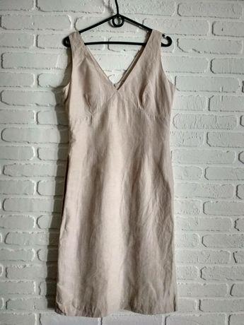 Элегантное классическое платье лен+шелк