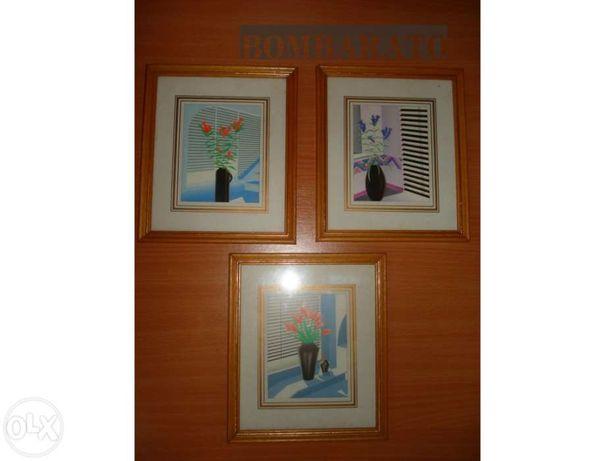 3 Quadros em Serigrafia c/vidro