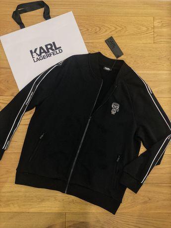 Czarna bluza na zamek z lampasem Karl Lagerfeld XXL