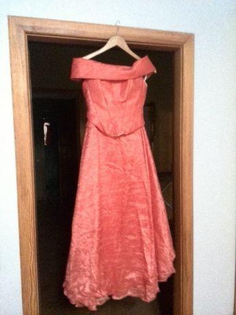 Вечернее платье в пол корсет+юбка, на выпускной новый год персиковое
