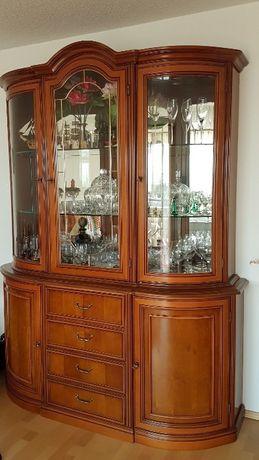 Witryna komoda narożna, zegar, włoska czereśnia drewno, meble włoski