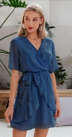 Sukienka niebieska, zwiewna, lekka r. XL