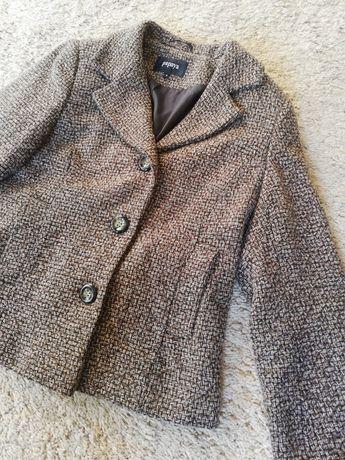 Płaszcz krótki brązowy wełniany płaszczyk