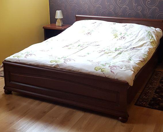 Łóżko z materacem duże podwójne ciemne