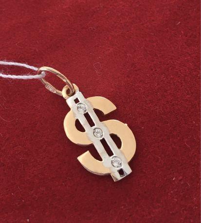 Золотой кулон доллар 585 пробы