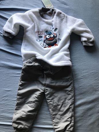 Zestaw Bluza spodnie ocieplane 86 cm