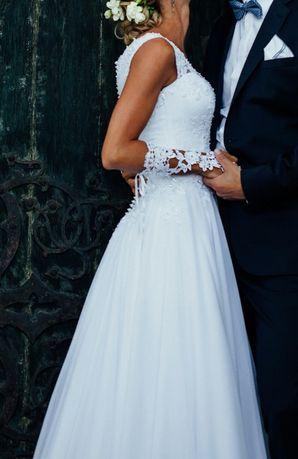 Suknia Ślubna r. 34-36 Kryształki Swarovskiego