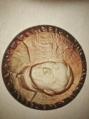 Jan Paweł II Pierwszy Polak Papierzem medal odlew z gipsu śr. 18 cm