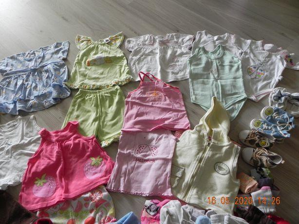 ubranka dla dziewczynki mega paka ubrań 6-12 msc około 70 szt