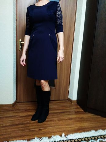 Платье миди синее