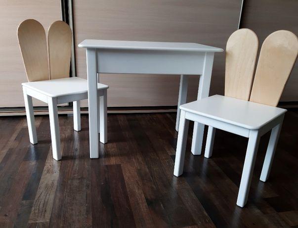Meble drewniane dla dzieci stolik i dwa krzesełka 92-116