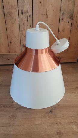 Biała Lampa wisząca z miedzianą obwódką