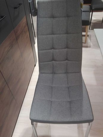Krzesła materiał +ekoskóra szare Prima z ekspozycji nowe 4szt