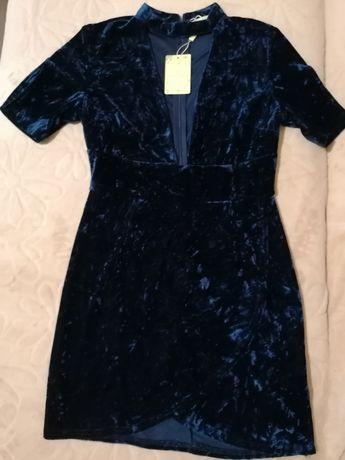 Платье нарядное, вечернее, праздничное, бархатное, мини, назапах