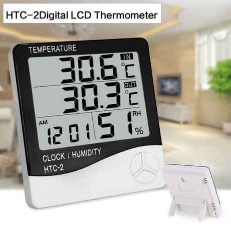 3 в 1 Часы Термометр Гигрометр с выносным датчиком HTC-2 (датчик влажн