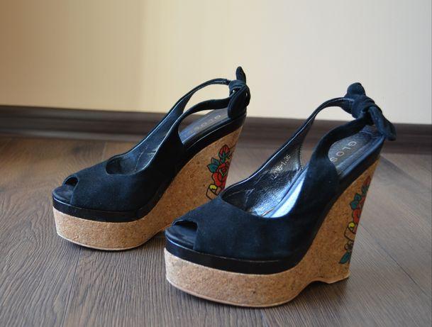 Босоножки туфли на платформе танкетке натуральная замша