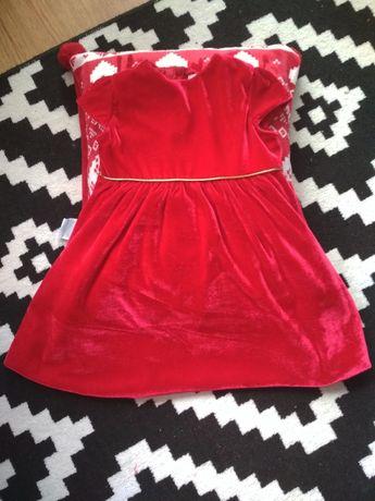 Czerwona sukienka welurowa
