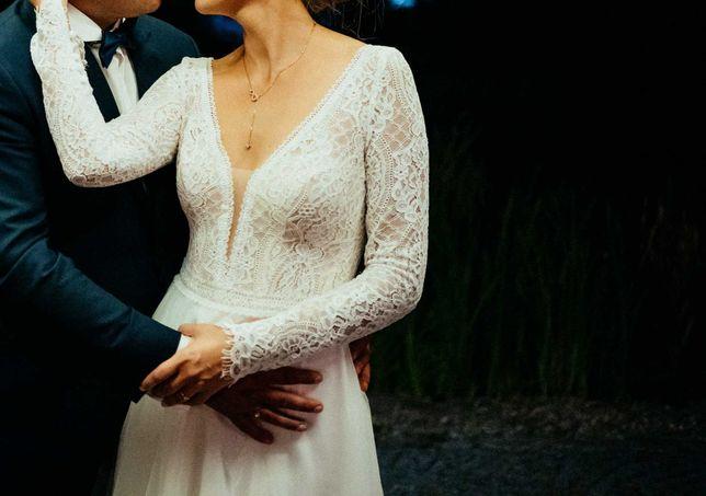 Suknia ślubna z długim rękawem, Agnes, kolor ivory, rozm 36/38, welo