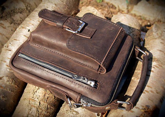 Мужская кожаная сумка-барсетка ручной работы. Натуральная кожа 1.6-1.8