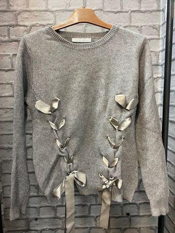Sweter damski siwy wstążki L jak nowy