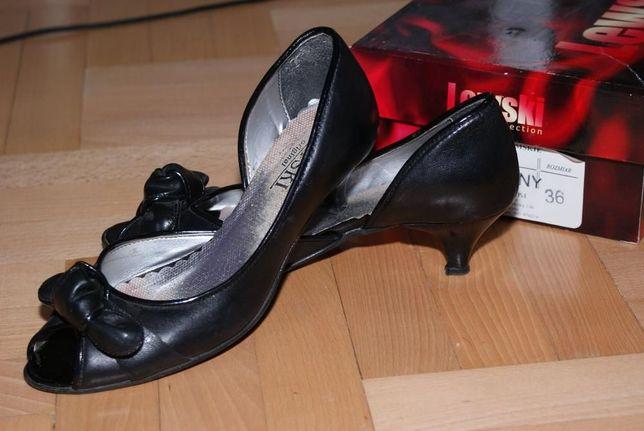 Buty skórzane LEWSKI rozm 36 czarne kokardka