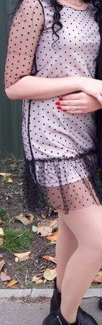 Продам платье нежно-розовое с чёрным