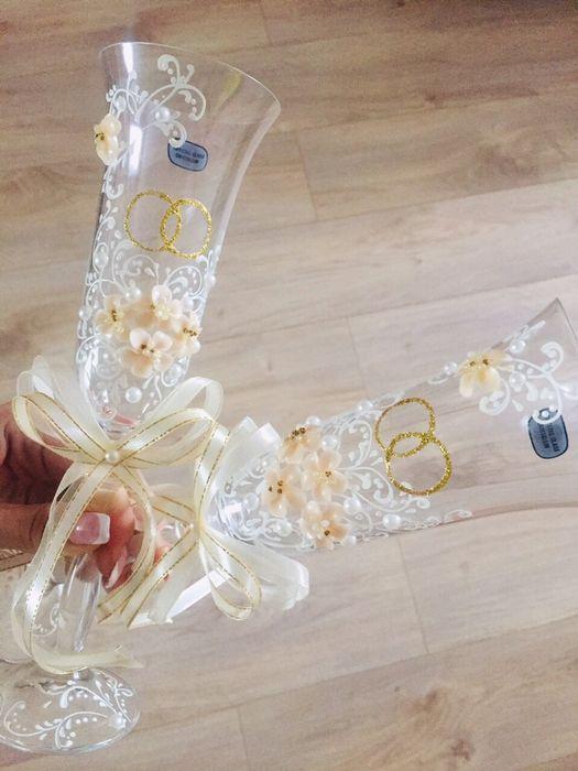 Хрустальные свадебные бокалы Стаханов - изображение 1