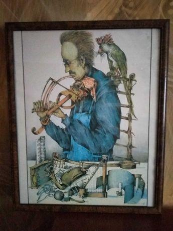Plakat w szklanej antyramie surrealizm autograf faksymile