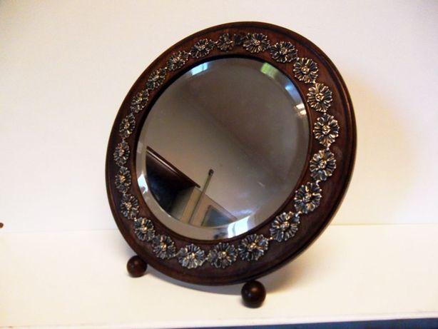 antigo espelho de mesa em pau santo com prata - restaurado