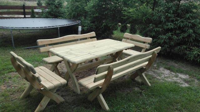 Zestaw ogrodowy. Meble ławka stół. Bardzo masywny. Transport