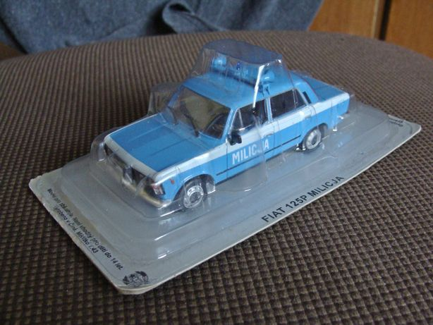 Kultowe Auta PRL Fiat 125p Milicja model Deagostini skala 1:43