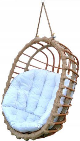 Huśtawka wiklinowa, fotel wiszący OWALNY  + poduszka biała