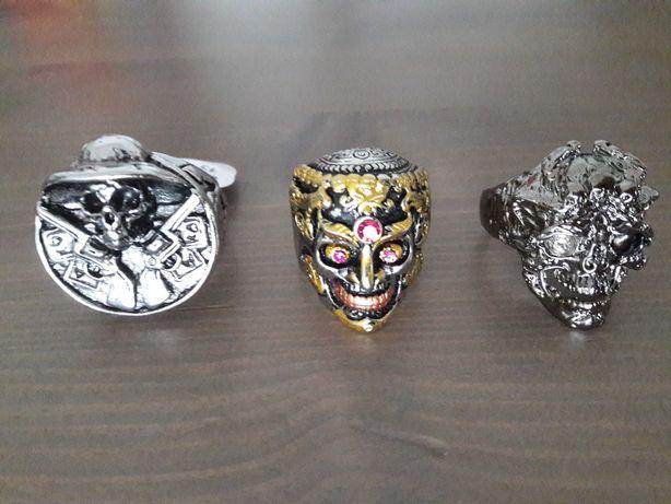 Wyjątkowy sygnet pierścień punk metal rock w kolorze srebro lub złoto