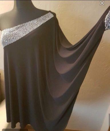 Elegancka zdobiona sukienka r 36 granatowa KARNAWAŁ studniówka Sylwest