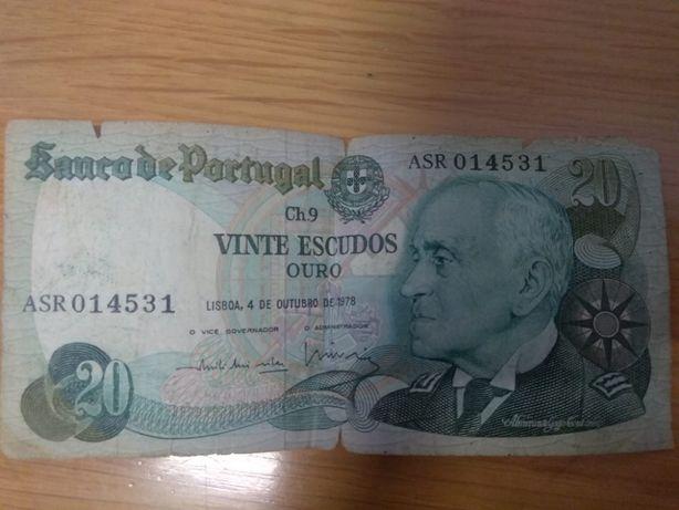Vendo NOTA 20$00 (escudos) de 1978
