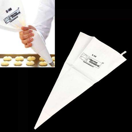Saco de pasteleiro com 50 cm feito em algodão reforçado na ponta.