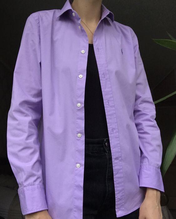 Хлопковая рубашка лавандового цвета ralph lauren унисекс Винница - изображение 1