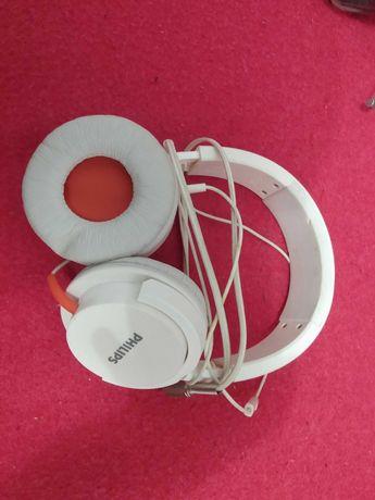 Słuchawki Philips białe, mikrofon, nauszne
