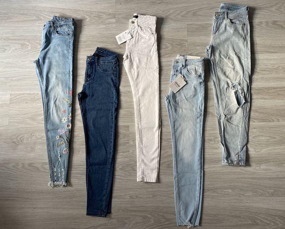 Wysyłka 1 zł ! ZESTAW XS spodnie rurki jeansy zara bershka nowe