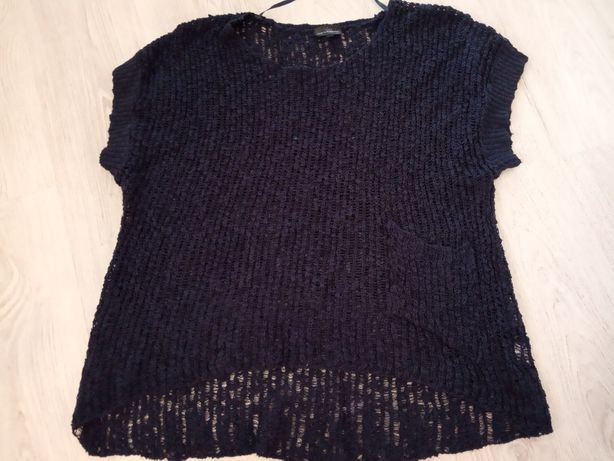 Okazja! KappAhl - r.48/50 ażurowy granatowy sweter oversize